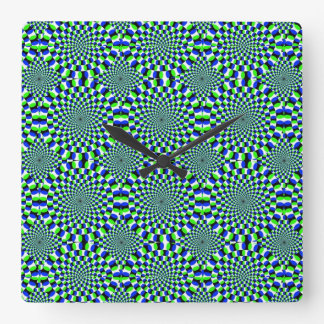 Optical Illusion Expansion Turning Wheels Chaotic Square Wall Clock