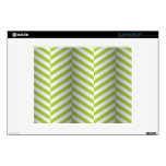 """optical Illusion Herringbone -white & lime- Decal For 12"""" Laptop"""