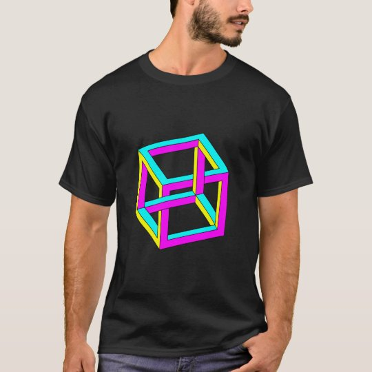 Optical Illusion - Impossible CMYK Cube T-Shirt