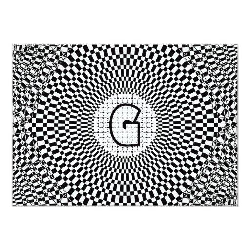 Optical Illusion Monogram G Card