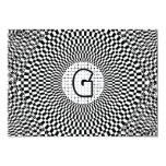 "Optical Illusion Monogram G 5"" X 7"" Invitation Card"