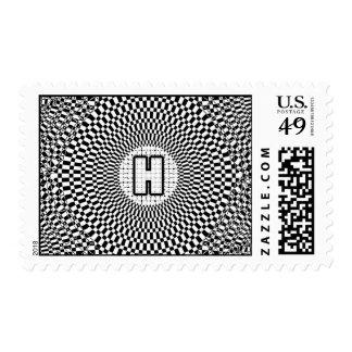 Optical Illusion Monogram H Postage