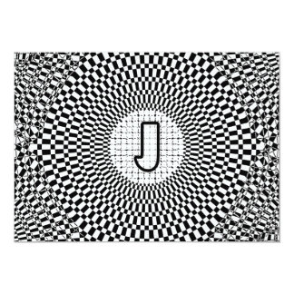 Optical Illusion Monogram J 5x7 Paper Invitation Card