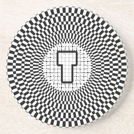 Optical Illusion Monogram T Drink Coasters