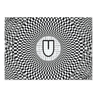 Optical Illusion Monogram U Card