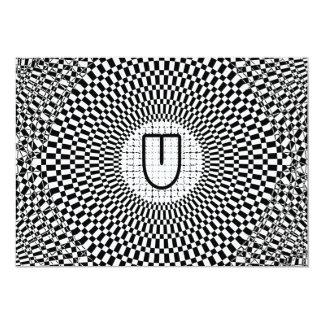 Optical Illusion Monogram U 5x7 Paper Invitation Card