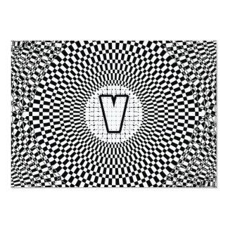 Optical Illusion Monogram V Card