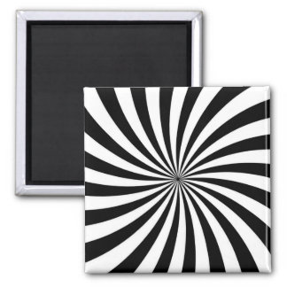Optical Illusion Moving Black and White Swirl 2 Inch Square Magnet
