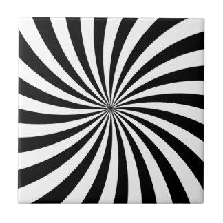 Optical Illusion Moving Black and White Swirl Ceramic Tile