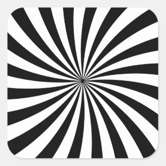 Optical Illusion Moving Black and White Swirl Square Sticker