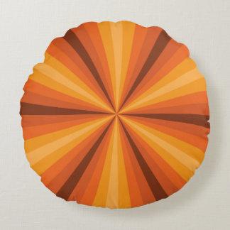 Optical Illusion Orange Round Pillow