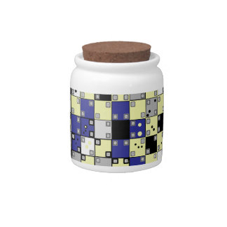Optical Illusion Pattern in Blue, Yellow, Gray Candy Jars