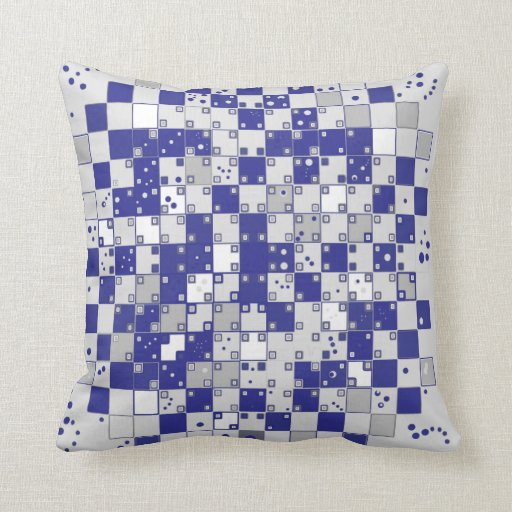 Optical Illusion Pillow in Navy and Light Blue