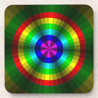 Optical Illusion Rainbow Square Coaster