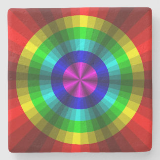 Optical Illusion Rainbow Stone Coaster