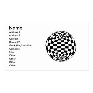 Optical Illusion Round checkers Black White Business Card Templates