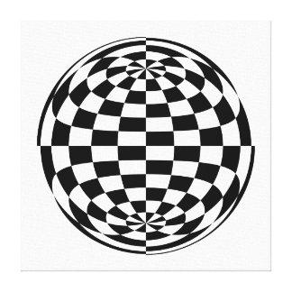 Optical Illusion Round checkers Black White Canvas Print