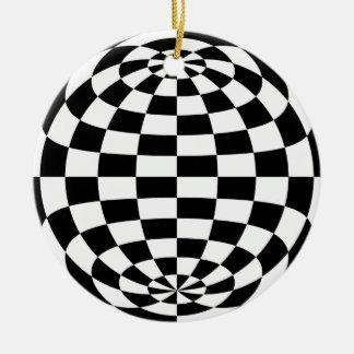 Optical Illusion Round checkers Black White Ceramic Ornament