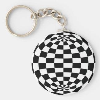 Optical Illusion Round checkers Black White Keychain