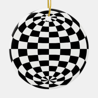Optical Illusion Round checkers Black White Double-Sided Ceramic Round Christmas Ornament