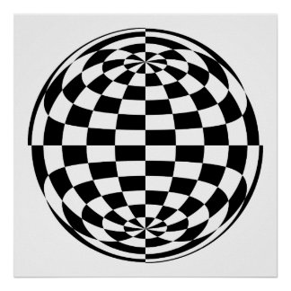 Optical Illusion Round checkers Black White Poster
