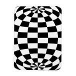 Optical Illusion Round checkers Black White Rectangular Photo Magnet