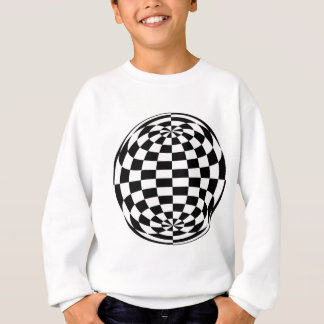 Optical Illusion Round checkers Black White Sweatshirt