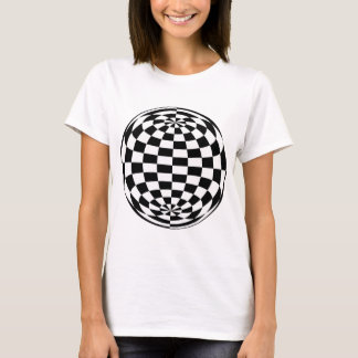 Optical Illusion Round checkers Black White T-Shirt