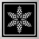 Optical Illusion Snowflake Christmas Elegant Poster