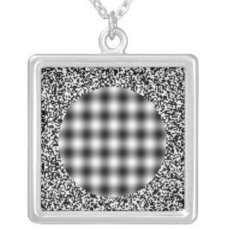Optical Illusion Square Pendant Necklace