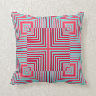 Optical Illusion Squares Blue Coral Rose Pillow
