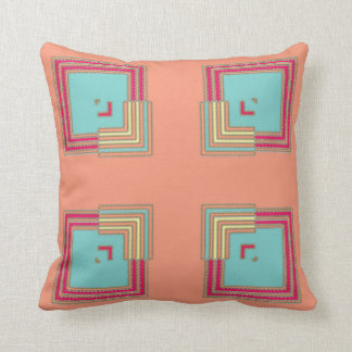 Optical Illusion Squares Southwestern Colors Throw Pillow