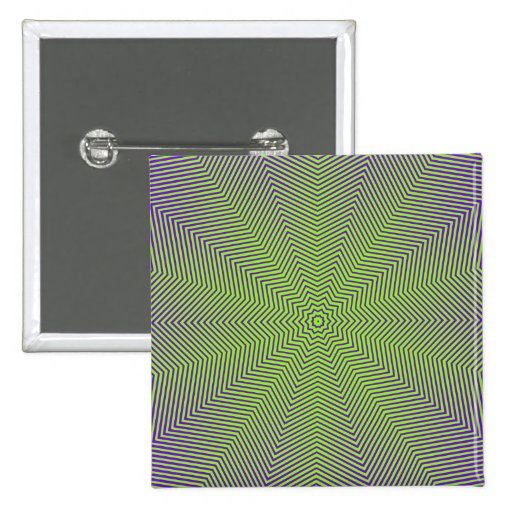 Optical Illusion Star Lines 2 Inch Square Button