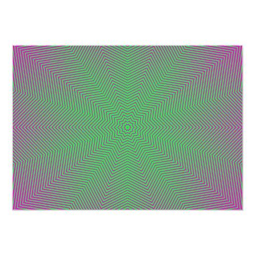 "Optical Illusion Star Lines 5"" X 7"" Invitation Card"