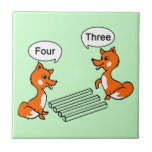 """Optical illusion Trick Ceramic Tile<br><div class=""""desc"""">Classic Optical Brain Trick with two cute foxes. Foxes are known to be smart, but they can&#39;t figure it out. There is difference in answers of the same persons when changing the view positing. From one angle it seems that there are 4 rods while seeing it from the other side...</div>"""