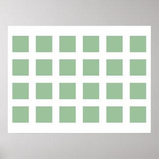 Optical Illusion Vanishing Dots Light Green White Posters