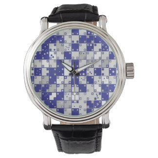 Optical Illusion Watch in Blue and White
