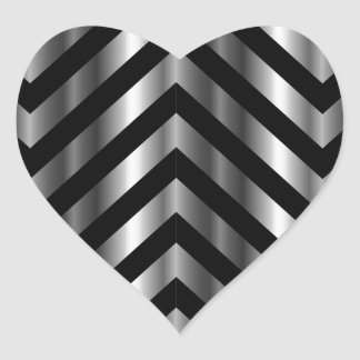 Optical illusion with metal bars and zig zag lines heart sticker