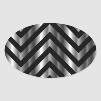 Optical illusion with metal bars and zig zag lines oval sticker