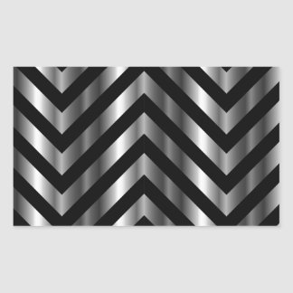 Optical illusion with metal bars and zig zag lines rectangular sticker