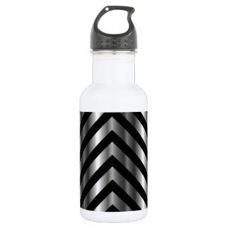 Optical illusion with metal bars and zig zag lines water bottle