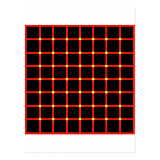 Optical illusion with yellow dots postcard