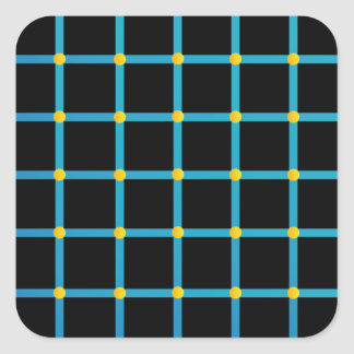 Optical illusion with yellow dots square sticker