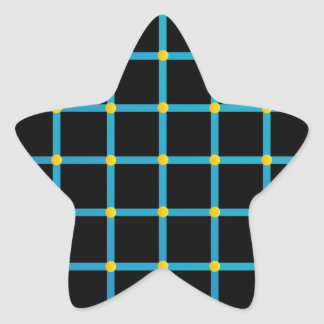 Optical illusion with yellow dots star sticker