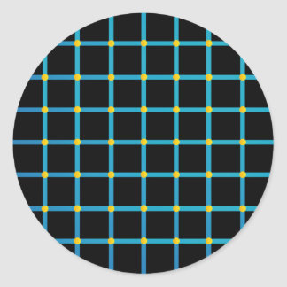 Optical illusion with yellow dots round stickers