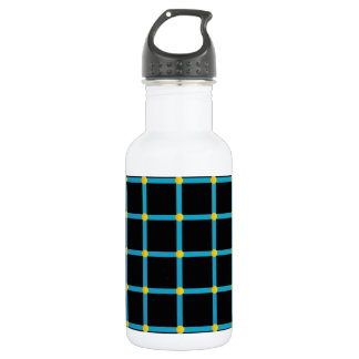 Optical illusion with yellow dots water bottle
