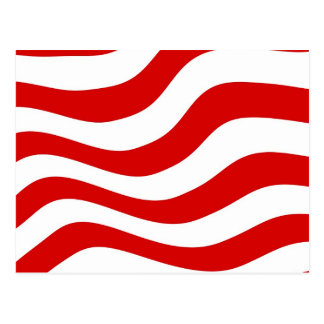 Optical Illusion: Zany Wavy  Red and White Stripes Postcard
