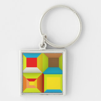 OPTICAL ILLUSIONS NEON COLORS GREEN YELLOW RED BLU KEYCHAIN