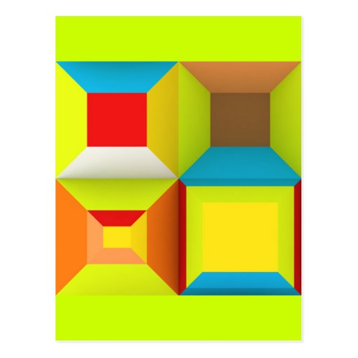 OPTICAL ILLUSIONS NEON COLORS GREEN YELLOW RED BLU POSTCARD