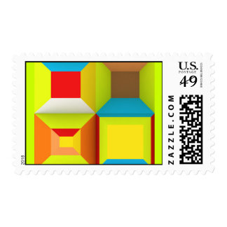 OPTICAL ILLUSIONS NEON COLORS GREEN YELLOW RED BLU STAMP